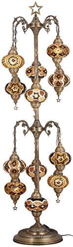 DEMMEX 2020 Mosaic Tree Floor Lamp, 12 Big Globes Turkish Moroccan Mosaic Floor Lamp, Christmas Tree Floor Lamp, Bohemian Boho Tiffany Floor Lamp Light, US Plug Sockets, 68 Calming Therapy