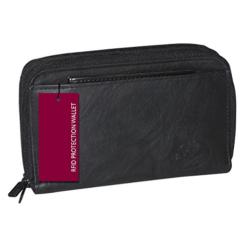 Uxton Heiress Double Zip-around Indexer (Black-RFID Protected)