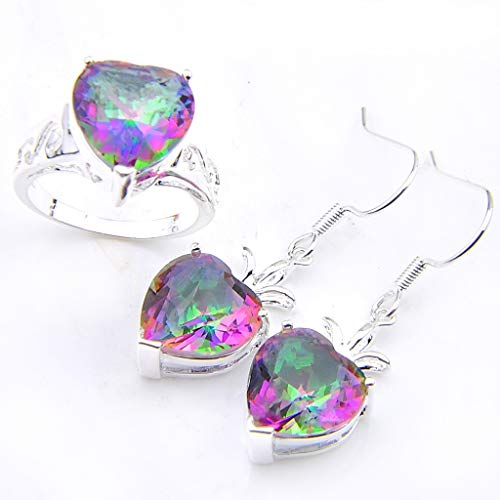 (Naomi Valentine's Day Heart Fire Rainbow Mystic Topaz Gems 925 Silver Dangle Earrings Rings Jewelry Sets Multi-Color 7)