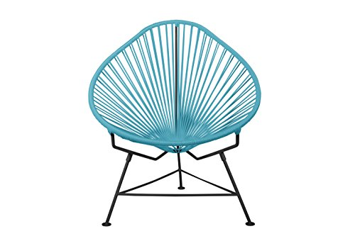 Innit Designs Acapulco Chair, Blue Weave On Black Frame