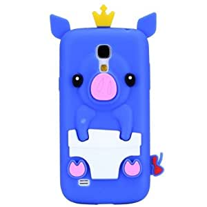 Dark Blue Case for Samsung Galaxy S4 Mini i9190 New Cute Crown Pig Style Soft Silicone Back Cover Shell(Gift 2 PCS Sticker)