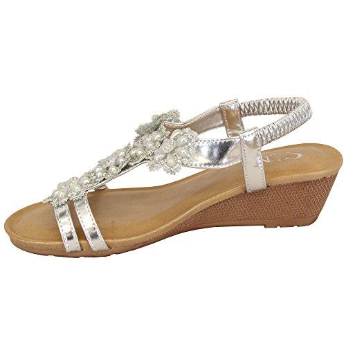Semelle Bout Neuf Arrière Chaussures 39923 Femmes Sandales Ouvert Enfiler Strass Argent COMPENSéE à Fermeture Femmes MCM qETv00