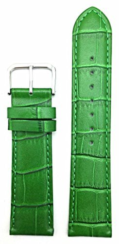 22mm Green Genuine Leather Watch Band | Square Crocodile Grained, Lightly Padded Replacement Wrist Strap That Brings New Life to Any Watch (Mens Standard Length)