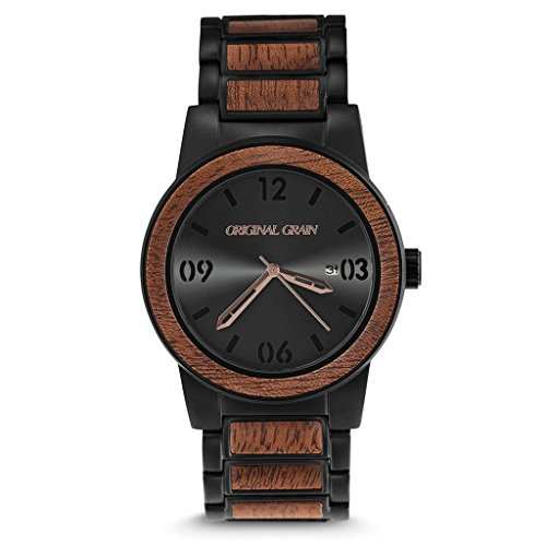 Original Grain Wood Wrist Watch | Barrel Collection 42MM Analog Watch | Wood And Matte Black Stainless Steel Watch Band | Japanese Quartz Movement | Sapele Wood by Original Grain