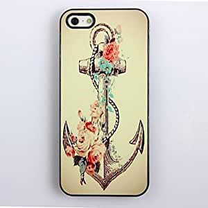 GJY Retro Anchor and Flower Pattern Aluminum Hard Case for iPhone 4/4S