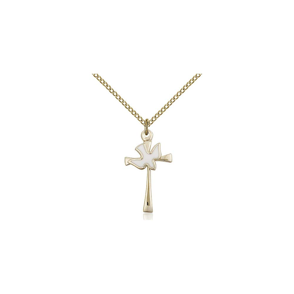 DiamondJewelryNY 14kt Gold Filled Cross//Holy Spirit Pendant