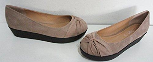 Daim Nude En 3 tailles Mid Chaussures Compensé nbsp;à Talon Look 8 Cour ballerine Beige wEd1d