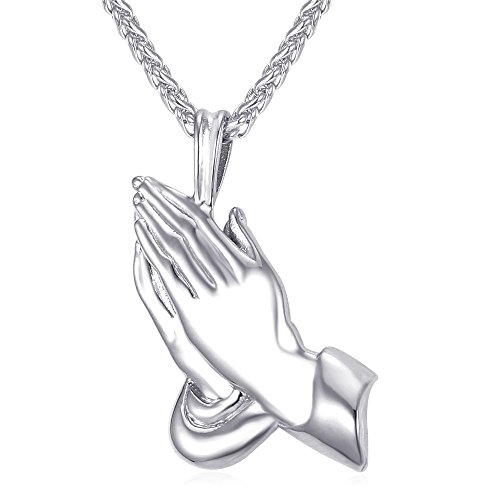 U7 Praying Hands Pendant Jewelry for Christian with Chain 22 Inch Stainless Steel The Hands of an Apostle Necklace
