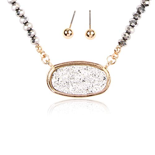 (RIAH FASHION Acrylic Faux Druzy Jewel Stone Hexagon Oval Pendant Necklace - Delicate Chain/Sparkly Crystal Beaded Strand (Medium Oval Crystal Bead - Silver/Gold) )
