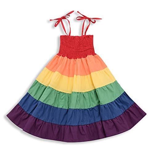 ZOELNIC Baby Girls Rainbow Dress Princess Sleeveless Halter Sundress (Rainbow, 2-3 Years)]()