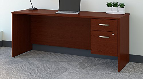 Bush Business Furniture Series C 72W x 24D Office Desk with 3/4 Pedestal in (Mahogany Series Set)