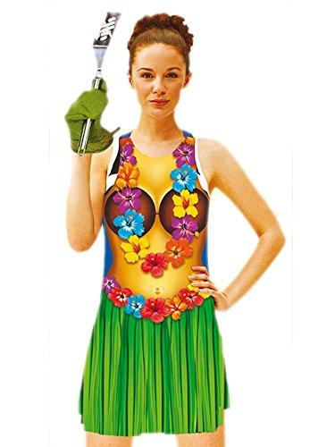[Luau Bikini Body Design on a Vinyl Apron for Women, 36 inches] (Hawiian Costumes)
