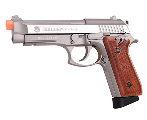 Taurus PT92 CO2 Full Metal Pistol, Silver/Wood airsoft gun
