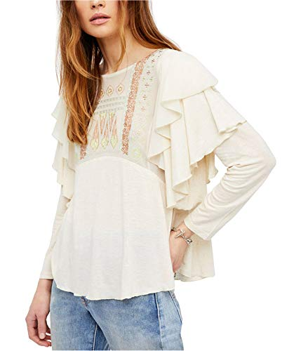 Clothing People Beautiful (Free People Womens Ruffled Boho Pullover Top Ivory M)
