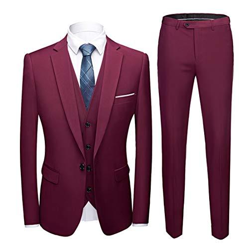MY'S Men's Suit Slim Fit One Button 3-Piece Suit Blazer Dress Business Wedding Party Jacket Vest & Pants Burgundy,S, 5'7-5'10, 140-160lbs
