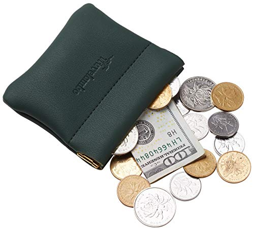 Travelambo Leather Squeeze Coin Purse Pouch Change Holder For Men & Women (Access Green ()