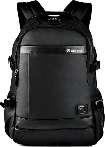 School Backpack, Coofit Waterproof Backpack for Women & Men Laptop Backpack for Laptop up to 14-Inch (Coofit Black - Day Fedex Tracking 2