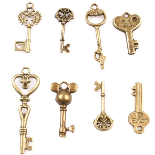 49x Assorted Seven Style Key Antique Bronze Alloy Charms Handmade Jewelry Making Fit Crafts