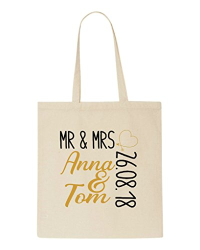 Personalised Beige Engagement Word Gift Party Wedding Boxed And Names Dates Tote Bag Art Shopper pXOWqw