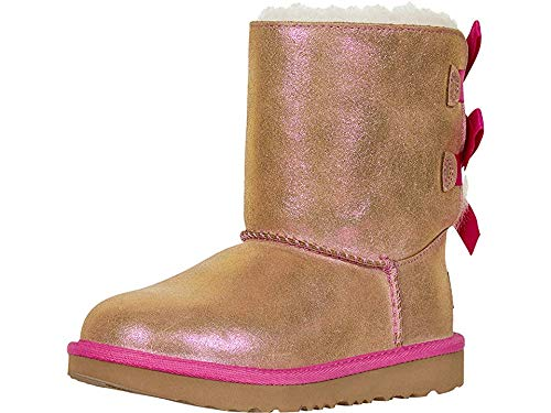 UGG Girls' Bailey Bow II Shimmer Fashion Boot, Chestnut/Fuchsia, 5 M US Big Kid