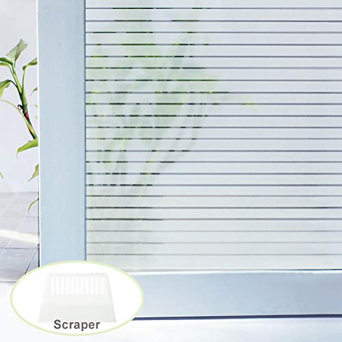 (Hooapoun Privacy Window Film, Static Cling No Glue Stripe Frosted Window Film, 17.5In x 78.7In, 1 Roll)
