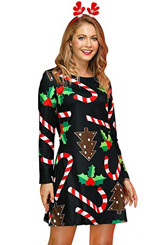 For G and PL Christmas Women Printed Gift Swing Party Long Sleeve Tunic Mini Dress Candy 2XL