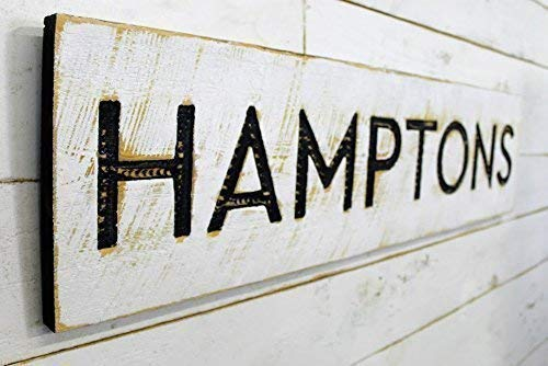 """Hamptons Sign Horizontal - 40""""x10"""" Carved in a Wood Board Rustic Distressed Shop Advertisement Farmhouse Style Wooden The Hamptons New York Beach"""