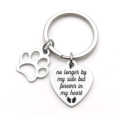 (Pet Memorial Gift Keychain for Dogs Cats Personalized -Loss of Pet Sympathy DIY Crafts Keepsake -No Longer by My Side Forever in My Heart Cat Remembrance Jewelry Keyrings)