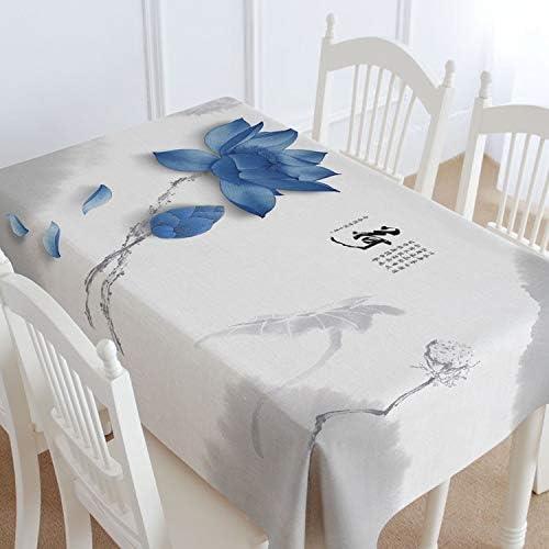 SnowFig Mantel de Estilo Chino Patrón de Loto Azul Gris Blanco ...