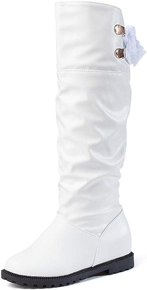 Rawdah Botas Mujer Invierno Botas hasta la Rodilla Botas hasta la Rodilla de Cuero Suave Mujeres Cómodas Botas largas Zapatos Mujer Plataforma