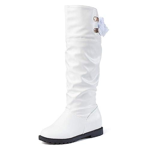 Botines de Nieve Otoño Invierno Moda 2018 Zapatos de tacón Grueso Botas con Cordones Rodilla para