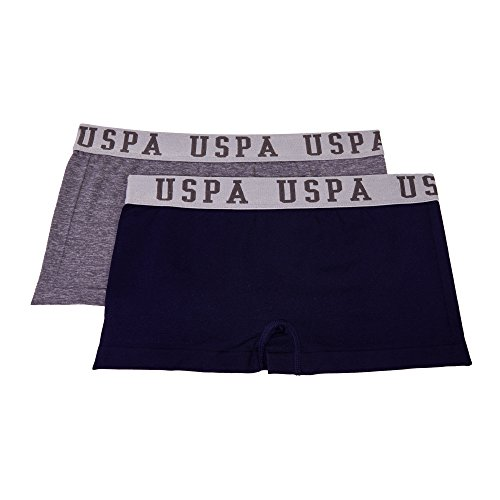 U.S. Polo Assn. Women's 2 Pack Boyshort Panties Set Heather Grey/Black Medium