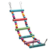 Colorful Parrot Chew Toys Step Ladder Flexible Wooden Rainbow Swing Bridge for Parrots Bird Cage Training (small)