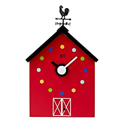 KOOKOO RedBarn Large, Cuckoo Clock, Farmhouse Clock Made of MDF Wood, Striking Design, Including 12 Farm Animals and a Rooster, Animal Voices Kids Present as of 6 Years