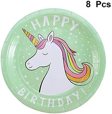 Amosfun Cumpleaños Desechable Unicornio Papel Plato Cena de ...
