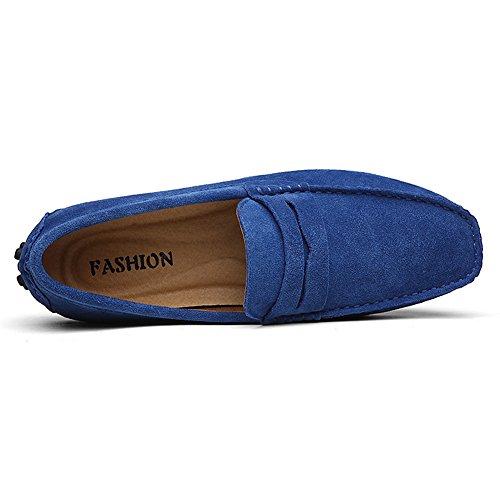 Rismart Hombre Resbalones Conduciendo Un Auto Loafer Flats Mocasines Zapatos Real Azul