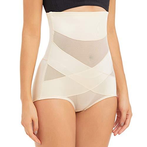 PAUKEE Women Shapewear Slimmer Body Shaper Hi-Waist Tummy Control Compression Butt Lifter Panties Girdle Beige