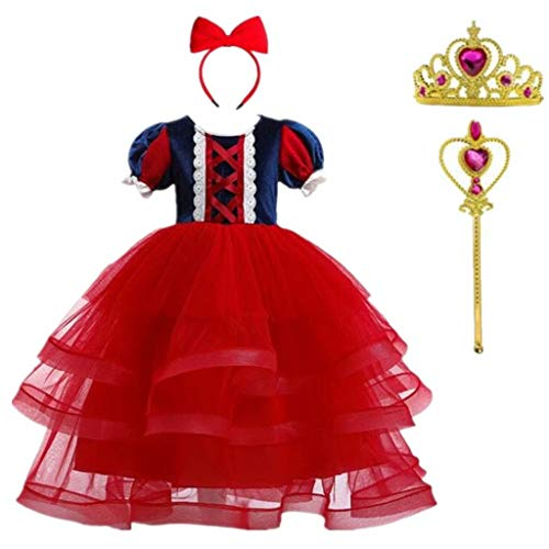 Szytypyl Snow White Princess Costume Long Dress for Girl's Classic Party Cosplay with Accessories