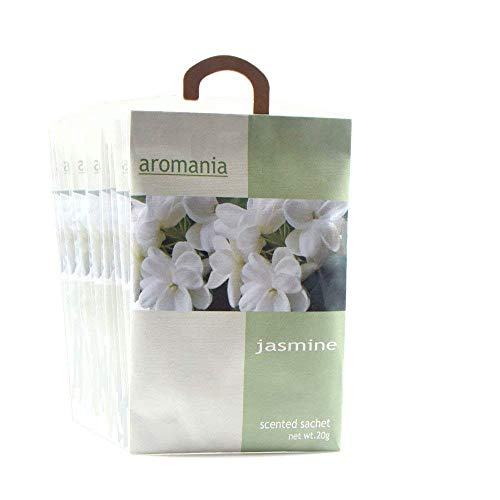 YUMSUM Premium Jasmine Scented Sachets Bags Clothes Fragrant for Drawers Closets Room Wardrobe Bathrooms Cars,25gX8 Pack (Jasmine) ()
