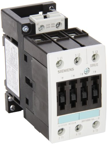 Siemens 3RT10 33-1AP60 Motor Contactor, 3 Poles, Screw Terminals, S2 Frame Size, 240V at 60Hz and 220V at 50Hz AC Coil Voltage Voltage