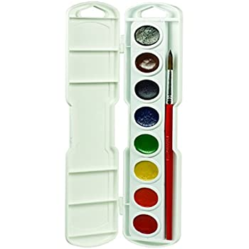 Prang Oval Pan Watercolor Set, 8 Classic Colors with Brush, Assorted Colors (00800)