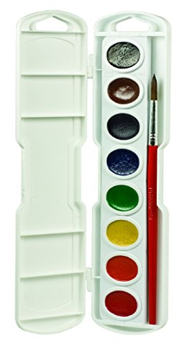 Prang Oval-8 Pan Watercolor Set, 8 Assorted Colors, Refillable, Includes Brush (Cargo Office Box Set)