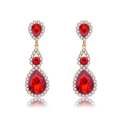 Paxuan Womens Gold Plated Ruby Rhinestone Crystal Cubic Zirconia Birthstone Earrings Wedding Bridal Drop Dangle Earrings Jewelry Hypoallergenic (Gold Costume Jewelry Earrings)