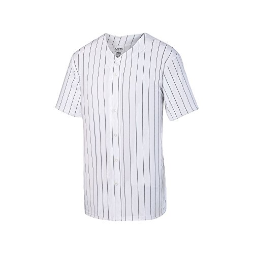 Augusta Sportswear Augusta Pinstripe Full Button Baseball Jersey, White/Black, XX-Large