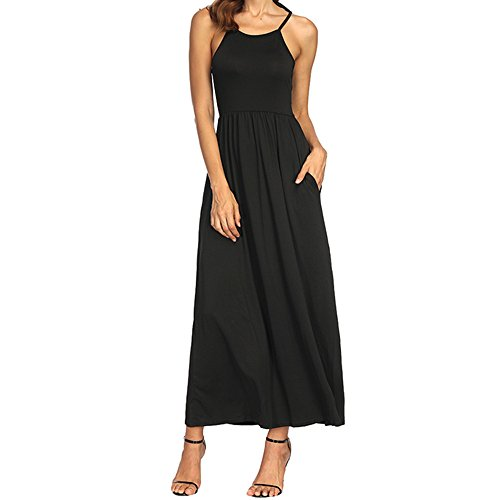 QueenMM Dress Women's Sleeveless Racerback and Long Sleeve Loose Plain Maxi Dresses Casual Long Dresses with Pockets Black ()