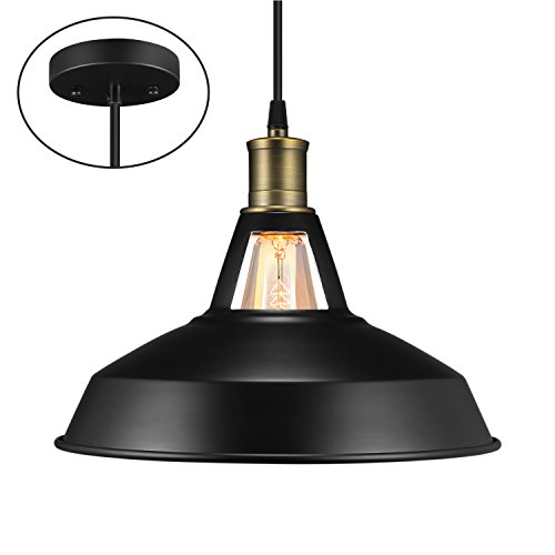 Salking Metal Industrial Pendant Light, Vintage Barn Hanging Lamp, Modern Iron Pendant Lighting, Oil Rubbed Black Finish with Cuttable Fabric Cord, Ceiling Light/ Dining Room Lamp - 1 Pack - Black Vintage Lighting