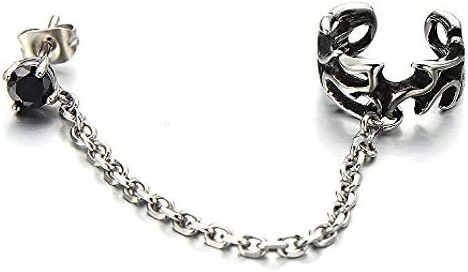 1pc Cadena Enlace Clip de Oreja, Clip-on Pendientes del Aro, para Hombres Mujer, Acero con Zirconio Cúbico Negro