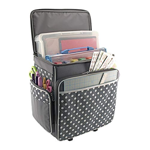Everything Mary Grey Polka Dot Rolling Scrapbook Storage Tote - Scrapbooking Storage Case for Rings, Paper, Binder, Crafts, Beads, Paper, Scissors - Telescoping Handle with Dual Wheels - Craft Case]()