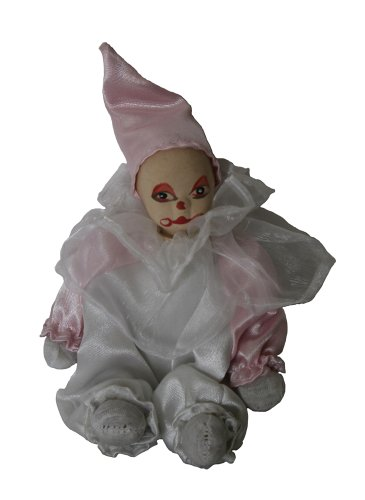 Clown Porcelain Doll 6 Inches Pink