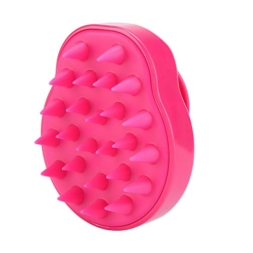 (Silicone Scalp shampoo Shower Washing Hair Massage Massager Brush Comb NEW (Color - Rose Red))